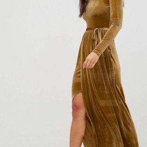 Plus Size Gold Velvet Maxi Dress